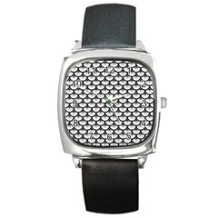 Scales3 Black Marble & White Linen Square Metal Watch