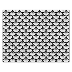 Scales3 Black Marble & White Linen Rectangular Jigsaw Puzzl