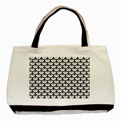Scales3 Black Marble & White Linen Basic Tote Bag