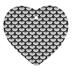 Scales3 Black Marble & White Linen Heart Ornament (two Sides)