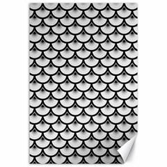 Scales3 Black Marble & White Linen Canvas 24  X 36