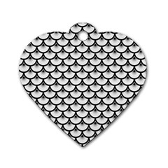 Scales3 Black Marble & White Linen Dog Tag Heart (one Side)