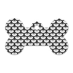 Scales3 Black Marble & White Linen Dog Tag Bone (one Side)