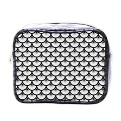 Scales3 Black Marble & White Linen Mini Toiletries Bags