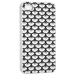 Scales3 Black Marble & White Linen Apple Iphone 4/4s Seamless Case (white)