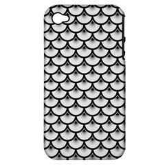 Scales3 Black Marble & White Linen Apple Iphone 4/4s Hardshell Case (pc+silicone)