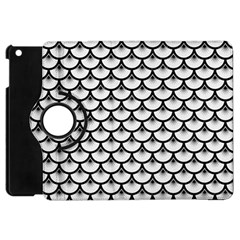 Scales3 Black Marble & White Linen Apple Ipad Mini Flip 360 Case