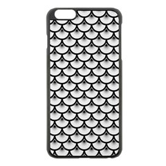 Scales3 Black Marble & White Linen Apple Iphone 6 Plus/6s Plus Black Enamel Case