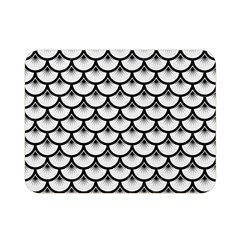 Scales3 Black Marble & White Linen Double Sided Flano Blanket (mini)