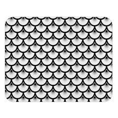 Scales3 Black Marble & White Linen Double Sided Flano Blanket (large)