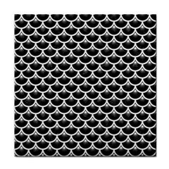 Scales3 Black Marble & White Linen (r) Tile Coasters