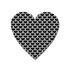 Scales3 Black Marble & White Linen (r) Heart Magnet
