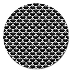 Scales3 Black Marble & White Linen (r) Magnet 5  (round)