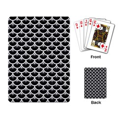 Scales3 Black Marble & White Linen (r) Playing Card