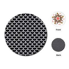 Scales3 Black Marble & White Linen (r) Playing Cards (round)