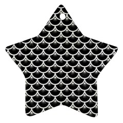Scales3 Black Marble & White Linen (r) Star Ornament (two Sides)