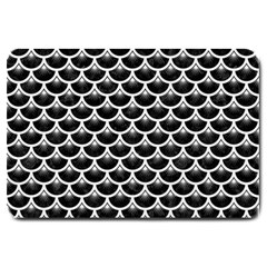 Scales3 Black Marble & White Linen (r) Large Doormat