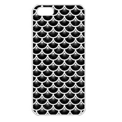 Scales3 Black Marble & White Linen (r) Apple Iphone 5 Seamless Case (white)