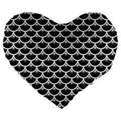 Scales3 Black Marble & White Linen (r) Large 19  Premium Flano Heart Shape Cushions