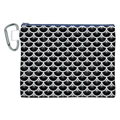 Scales3 Black Marble & White Linen (r) Canvas Cosmetic Bag (xxl)