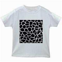 Skin1 Black Marble & White Linen Kids White T Shirts