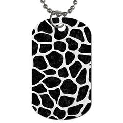 Skin1 Black Marble & White Linen Dog Tag (two Sides)