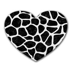 Skin1 Black Marble & White Linen Heart Mousepads