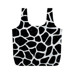 Skin1 Black Marble & White Linen Full Print Recycle Bags (m)