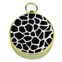 Skin1 Black Marble & White Linen Gold Compasses