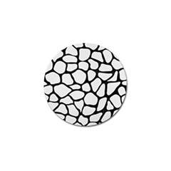 Skin1 Black Marble & White Linen (r) Golf Ball Marker (10 Pack)
