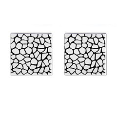 Skin1 Black Marble & White Linen (r) Cufflinks (square)