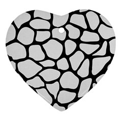 Skin1 Black Marble & White Linen (r) Heart Ornament (two Sides)