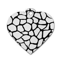 Skin1 Black Marble & White Linen (r) Dog Tag Heart (two Sides)