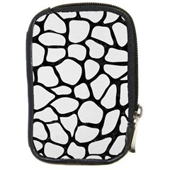 Skin1 Black Marble & White Linen (r) Compact Camera Cases