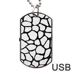 Skin1 Black Marble & White Linen (r) Dog Tag Usb Flash (two Sides)