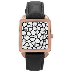 Skin1 Black Marble & White Linen (r) Rose Gold Leather Watch