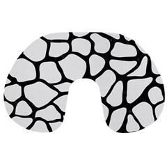 Skin1 Black Marble & White Linen (r) Travel Neck Pillows