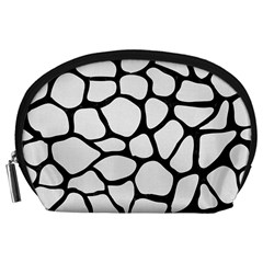 Skin1 Black Marble & White Linen (r) Accessory Pouches (large)