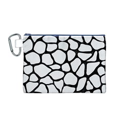 Skin1 Black Marble & White Linen (r) Canvas Cosmetic Bag (m)