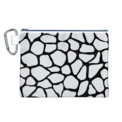 Skin1 Black Marble & White Linen (r) Canvas Cosmetic Bag (l)