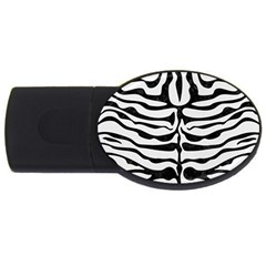 Skin2 Black Marble & White Linen Usb Flash Drive Oval (2 Gb)