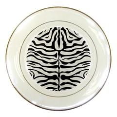Skin2 Black Marble & White Linen Porcelain Plates