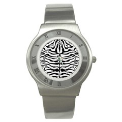 Skin2 Black Marble & White Linen Stainless Steel Watch