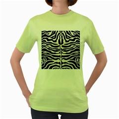 Skin2 Black Marble & White Linen (r) Women s Green T Shirt