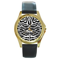 Skin2 Black Marble & White Linen (r) Round Gold Metal Watch
