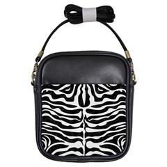 Skin2 Black Marble & White Linen (r) Girls Sling Bags