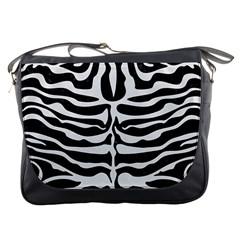 Skin2 Black Marble & White Linen (r) Messenger Bags