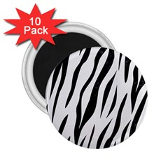 Skin3 Black Marble & White Linen 2 25  Magnets (10 Pack)