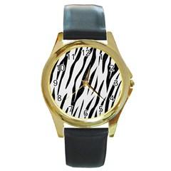 Skin3 Black Marble & White Linen Round Gold Metal Watch