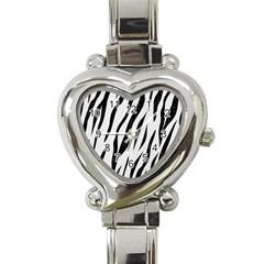 Skin3 Black Marble & White Linen Heart Italian Charm Watch